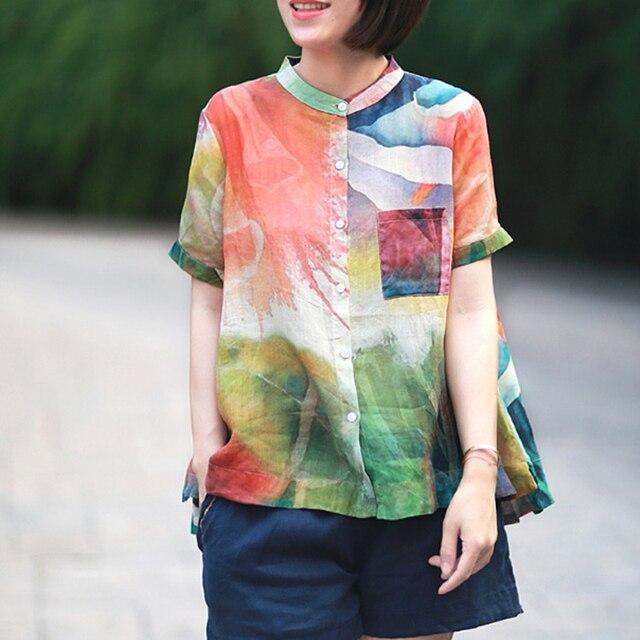 Johnature camisas do vintage botão de impressão de arte de manga curta blusa feminina 2020 verão moda solta selvagem blusa das senhoras