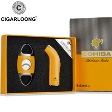 COHIBA High-Grade Metal Windproof Lighter cutter set Torch Jet Flame Refillable Blue Inflatable Double TZ-1001
