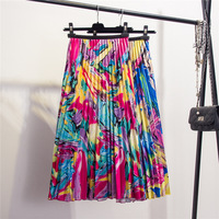 women satin colorful printed pleated A word skirt casual vacation style abstract color pleated long beach skirt