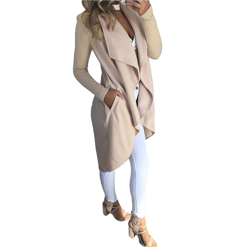 Fashion Big Lapel Long   Trench   Coat Women Knitted Solid Color Long Sleeve Slim Trenchcoat Cardigan Summer Autumn Pocket Outerwear