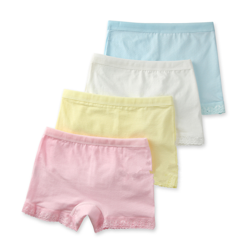 4pcs/lot Girls Boxer  Baby Candy Colored Pants Baby Cotton Lace Underwear 4pcs/lot Suitable For 3-10years