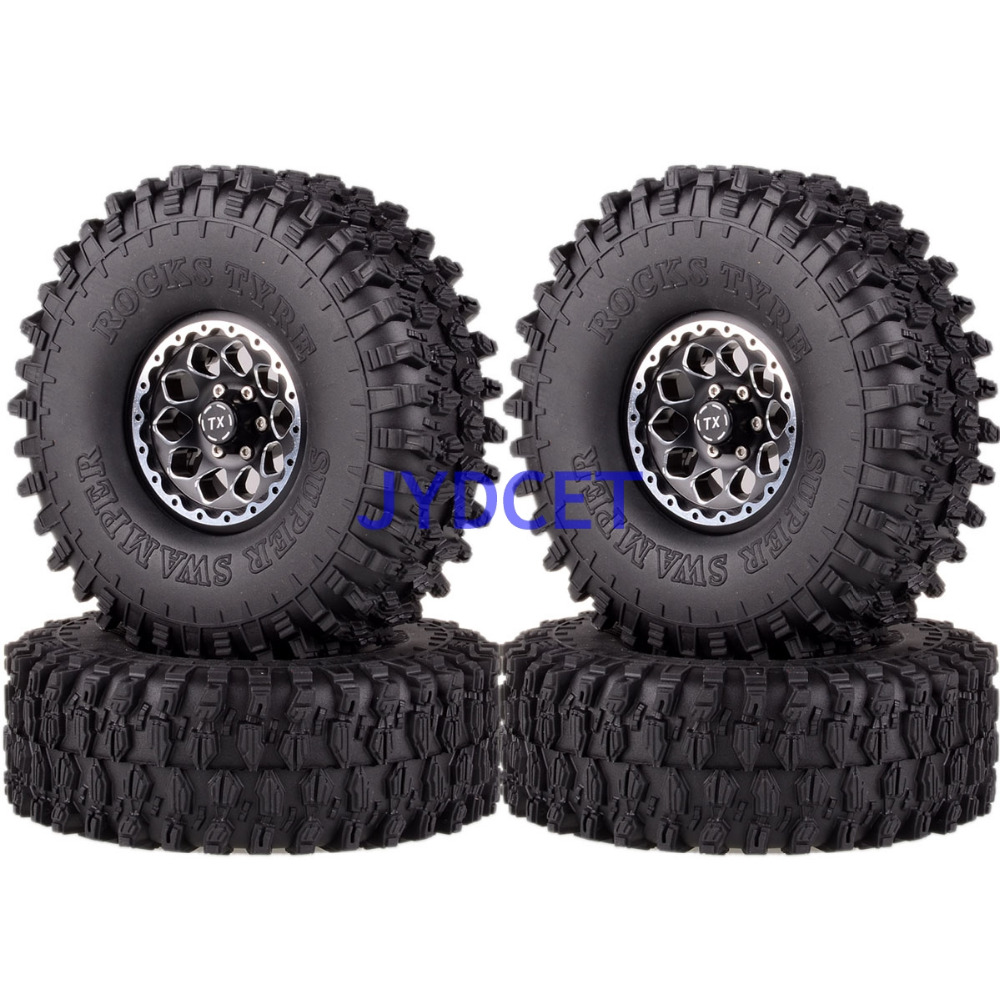 "1065 7037  4pcs 1.9"" Wheel Rim & 120mm Super Swamper Tyre Tires For RC 1/10 Model Rock Crawler TRX 4 CC01-in Parts & Accessories from Toys & Hobbies    1"