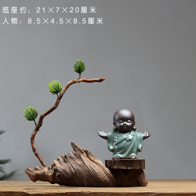 Arts and crafts house decoration office works of Art Buddhist mood Ornament little wooden craftwork Ins statue home decoration