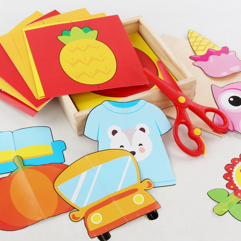 Image 4 - 60pcs Kids cartoon color paper folding and cutting toys wooden storage box/children kingergarden art craft DIY educational toys-in Craft Toys from Toys & Hobbies