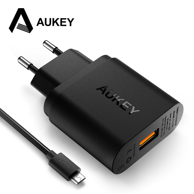 pretty nice fb31d 37e89 US $16.5 |AUKEY 18W Usb Phone Charger Quick Charge 2.0 Fast Wall Charger  Adapter For iPhone X 8 7s iPad Samsung Galaxy S9 S8 Xiaomi Tablet-in Mobile  ...