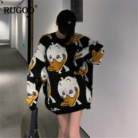 RUGOD 2019 Korean Duck Print Knitted Sweater New Winter Warm Long Sweater Pullovers Women Fashion Long Sleeve O Neck Jumper Tops