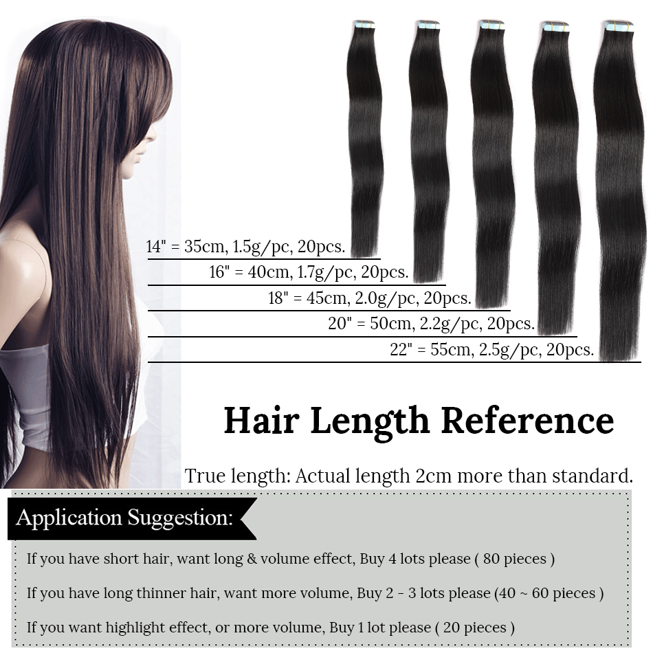 Mrs Hair Remy Tape In Hair Extension 14 18 22 20pc Straight Human