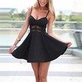 Новое Прибытие 2017 Женщины Лето Dress Мода Ремни Рукавов Спинки Выдалбливают Sexy Mini Бальные Платья Плюс Размер Vestidos