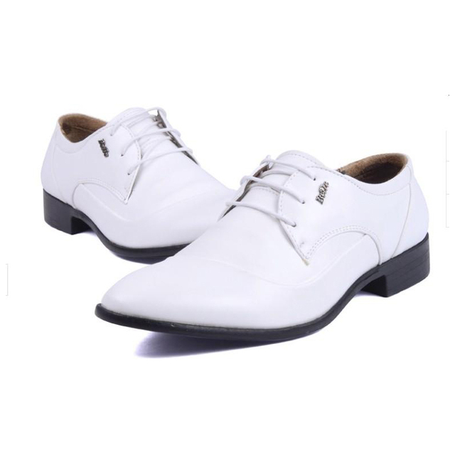 b12f02adcbb6 Men s Shoes White Wedding Shoes Plus Size Flats Male PU Leather Oxford Shoes  Dress Black Business Men Flats Shoes Free Shipping
