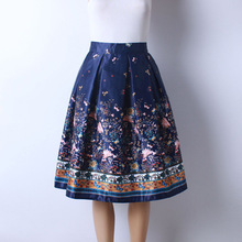 2016 Autumn New Women Fashion Satin Fabric Flower Butterfly Printed Middle Long Skirts Ladies Knee-Length Pettiskirt