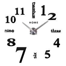 Arabic Numeral Digital Wall Clock Quartz Large Kitchen 3D DIY Mirror Stickers Big Home English Letters