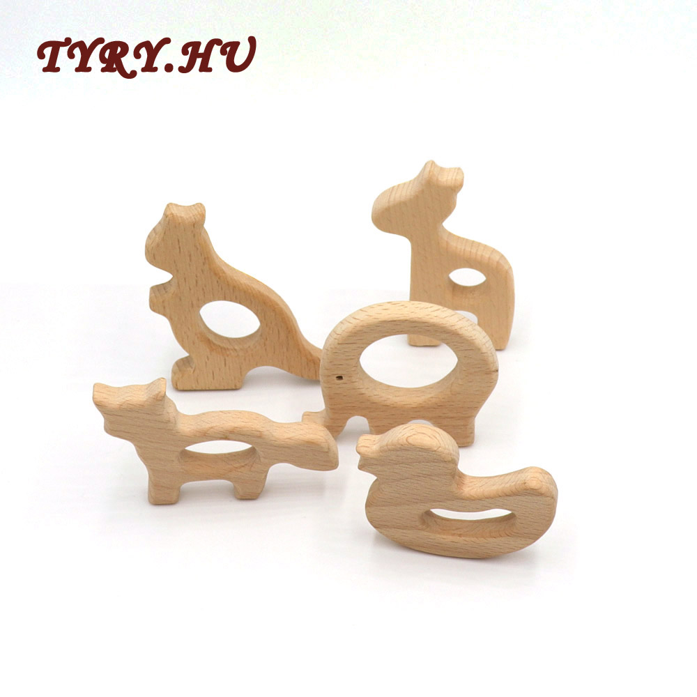 TYRY.HU 2PCS Animal Shape Wooden Teether Elephant for DIY Baby Teething Necklace Accessories Molar Pacifier Chain Pendant Toys цена