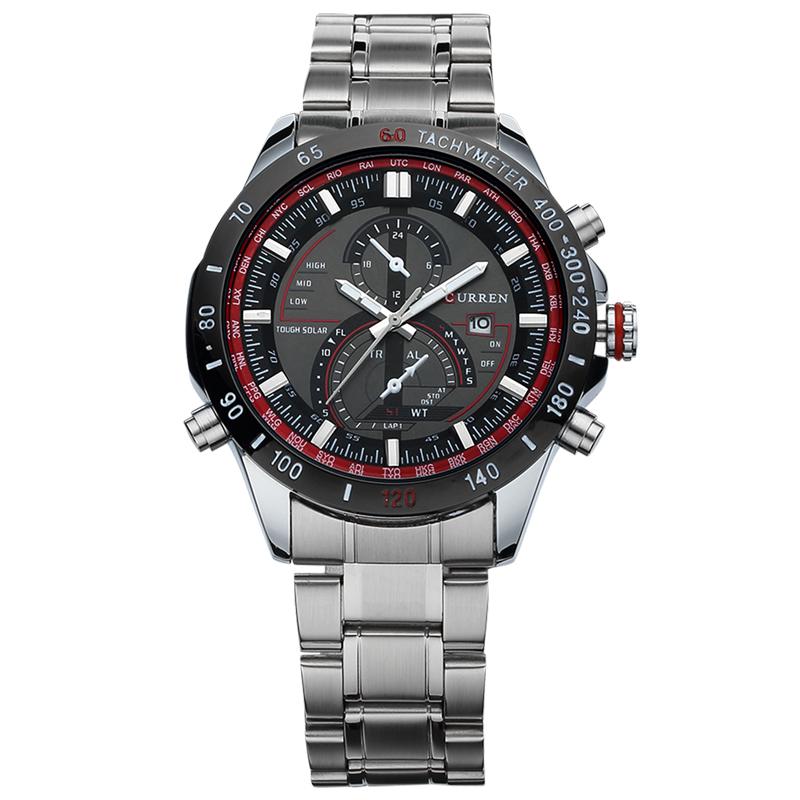 Prix pour 2016 nouveau mode curren marque conception d'affaires décontractée hommes horloge casual acier de luxe mâle poignet quartz armée sport cadeau montre 8149