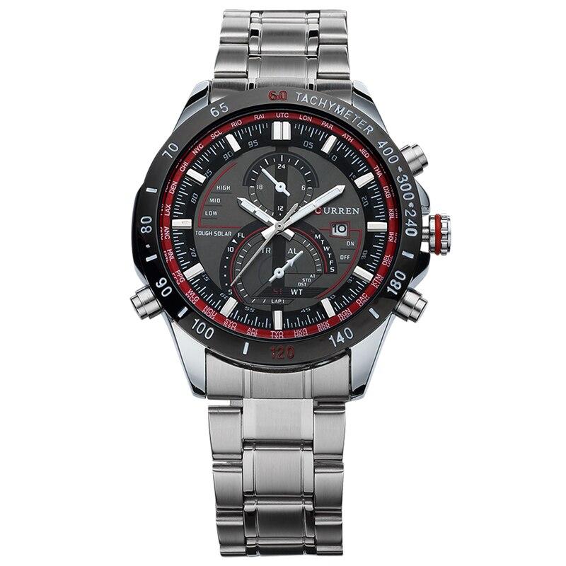 2018 new fashion Curren brand design casual business men clock casual steel luxury male wrist quartz army sport gift watch 8149