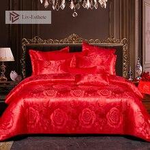 Liv-Esthete Euro Jacquard Wedding Luxury Bedding Set Double Adult Bedspread Flat Sheet Decorative Bed Linen Home Textile