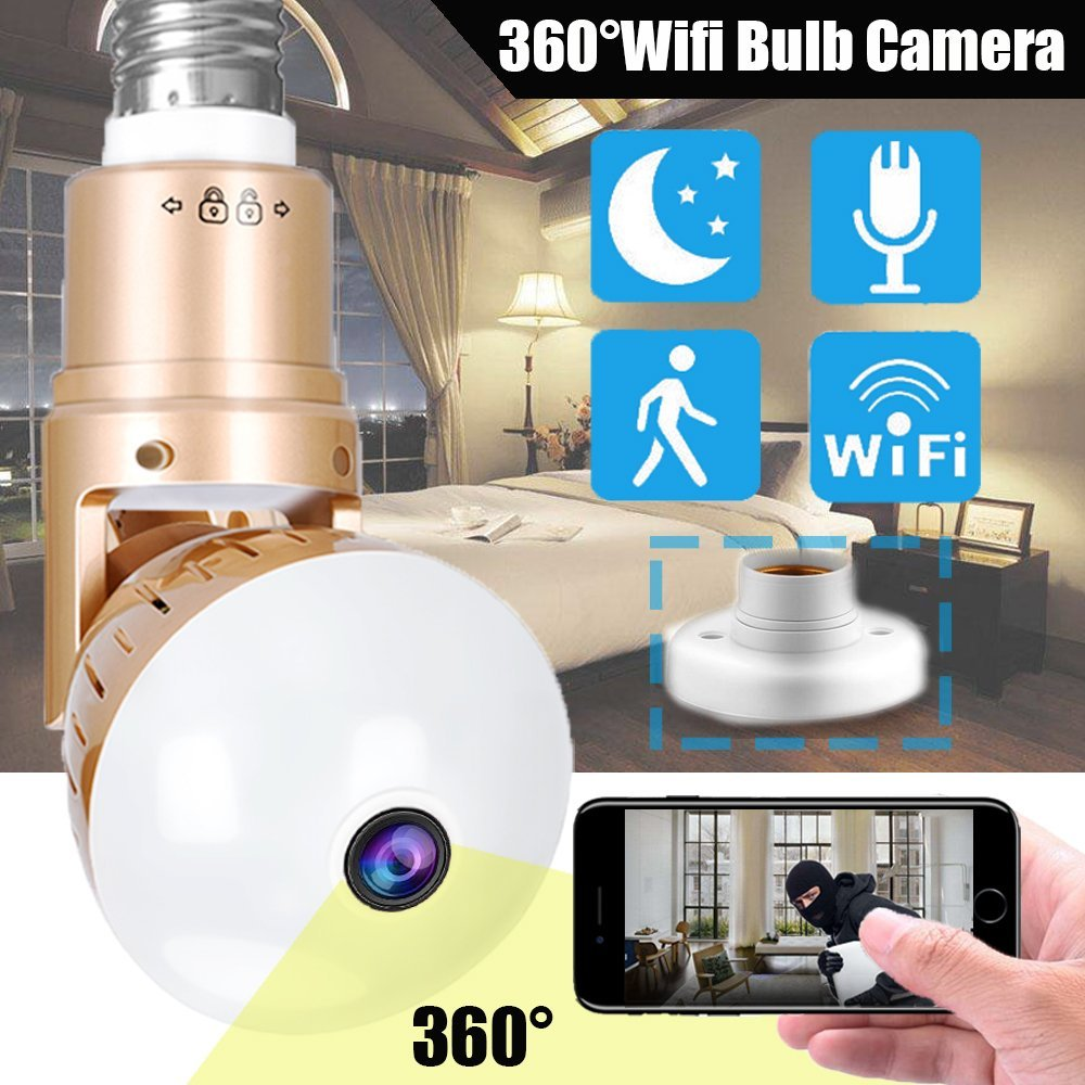 WiFi Panorama Camera 360 Degree Wirelss Network Security Surveillance IP Household Protective CCTV Indoor Infrared Video