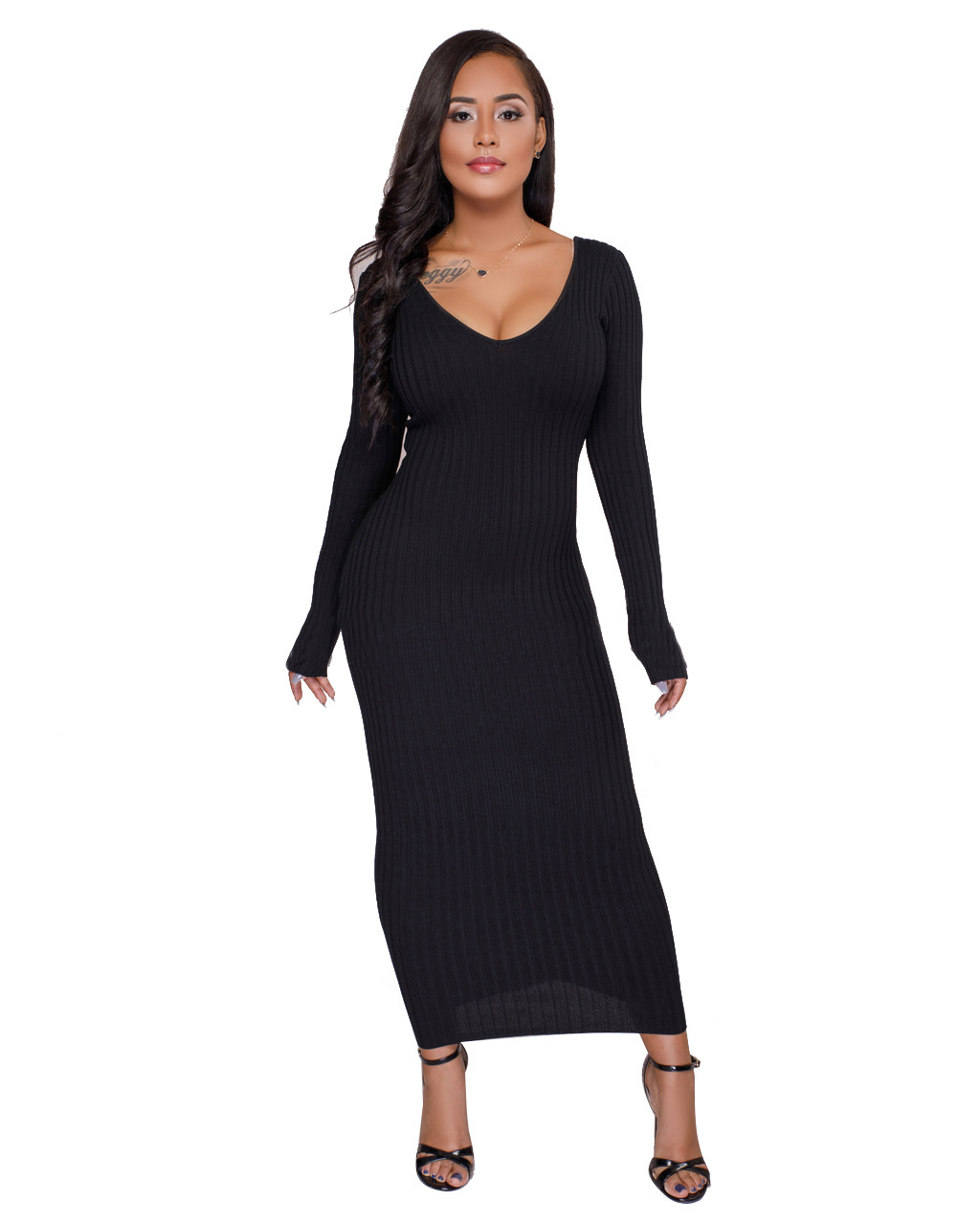 NEW Plus Size Sweater Maxi Dresses Long Knitted Sweater Dress Women Cotton Bodycon Dresses Pullover Female Autumn Winter Dress plus size double pockets knitted dress