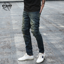 ATHIEF 2016 New Vintage Heavy Washed Denim Pencil Pants Men Ripped Holes Stitches Stretch Fabric Jeans