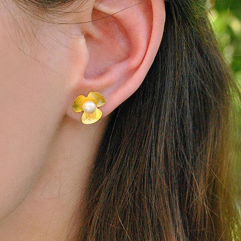 Lotus Fun Real 925 Sterling Silver Natural Pearl Stud Earrings Handmade Fine Jewelry Fresh Clover Flower