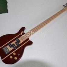 Высокое качество QShelly на заказ коричневый 4 струны кленовый корпус черный P звукосниматели 24 Лады электрическая бас гитара Музыкальные инструменты магазин