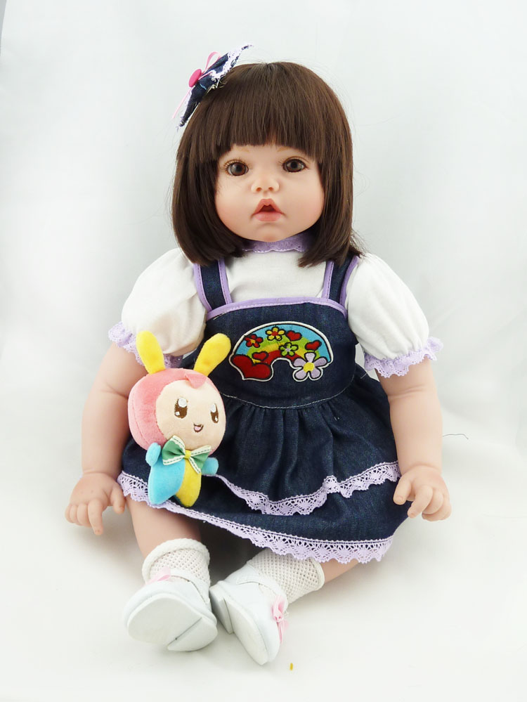 52cm Silicone Vinyl Reborn Baby Doll Toys Girl Brinquedos Lifelike Early Eduation Toy Toddler Best Christmas Gifts For Kids lifelike american 18 inches girl doll prices toy for children vinyl princess doll toys girl newest design