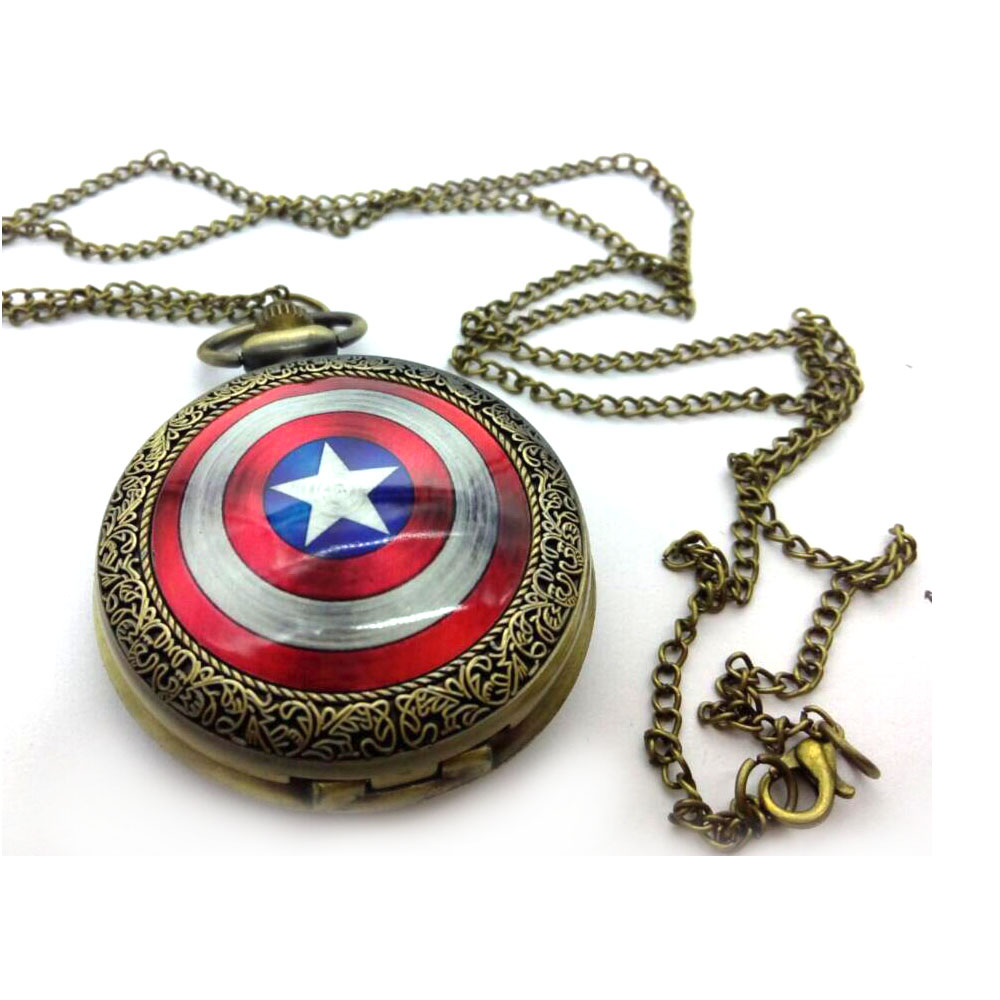 Vintage Bronze Antiques Captain America Enamel Pattern Men And Students Necklace Pocket Watches Gift