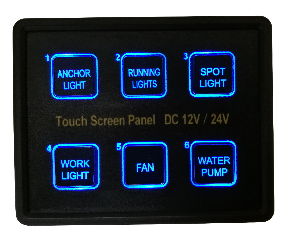 12V~ 24V 6Gang Blue LED Capacitive Touch Screen Control Switch Panel Box for Car Marine Boat Caravan Yacht Truck 6gang red led yacht rocker switch panel waterproof car rv marine boat switches 12v 24v yacht refit accessories
