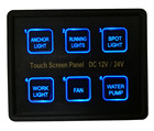 12V~ 24V 6Gang Blue LED Capacitive Touch Screen Control Switch Panel Box for Car Marine Boat Caravan Yacht Truck
