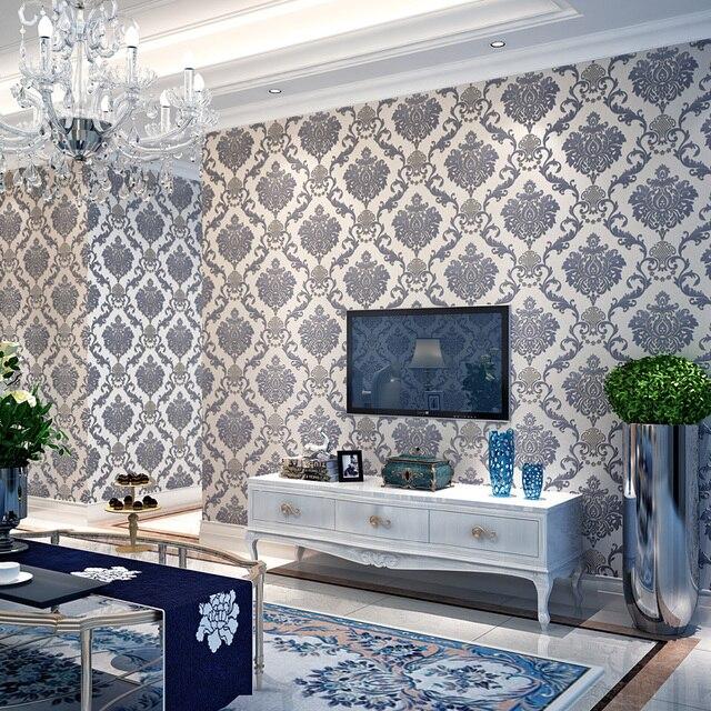Europa Luxus Große Blume Blau Gelb Braun Tapeten Vlies Bettwäsche Zimmer  Damaskus Wandpapierrolle