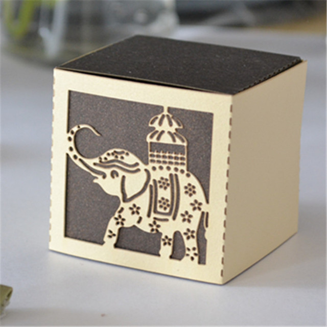 Thai Wedding Gifts: Christmas Gifts Laser Cut Cute Elephant Wedding Favor Box