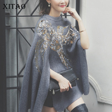 [XITAO] 2016 autumn Korea fashion women new sequins embroidery split sweater female thick solid color Round collar cloak NW001