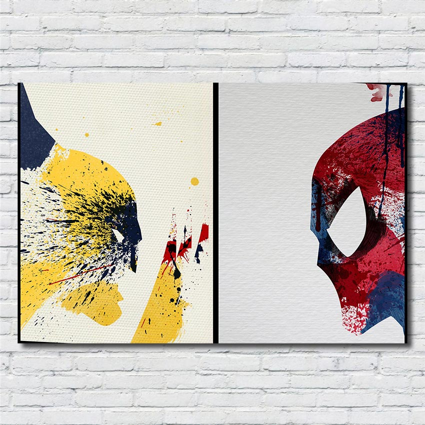 Us 4 89 30 Off The Wolverine Watercolor Art Posters The Amazing Spider Poster Prints Kids Room Home Decor Hd Painting Canvas Painting R369 In