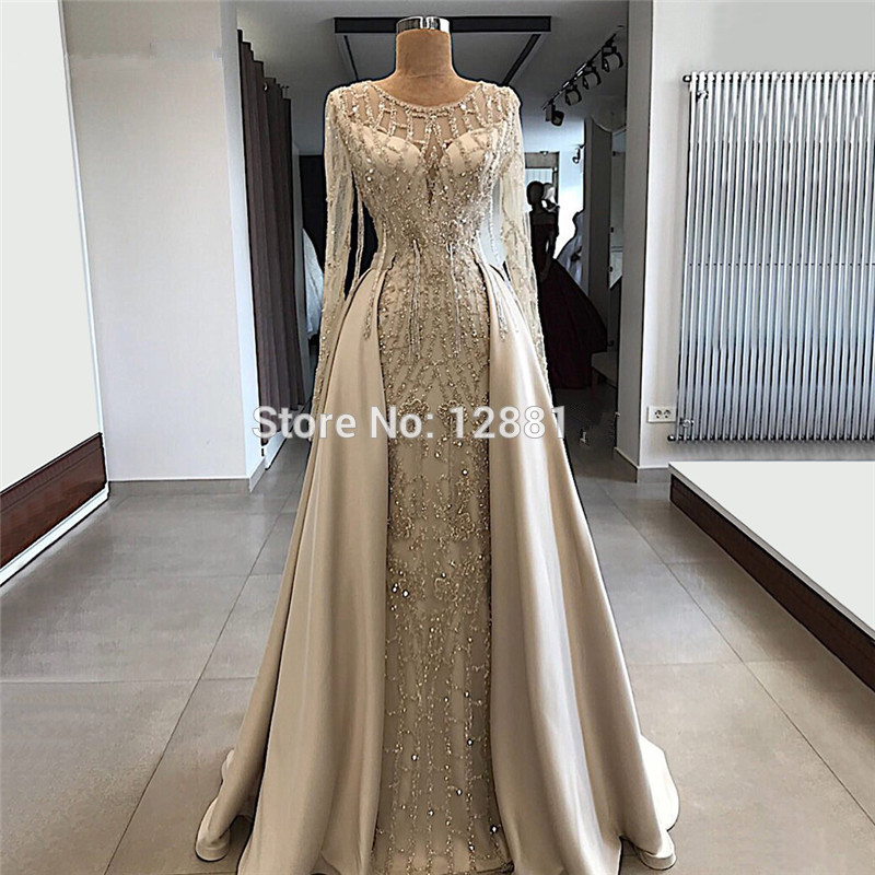 Plus Size Muslim   Evening     Dresses   2019 A-line Long Sleeves Beaded Long Islamic Dubai Saudi Arabic Long Formal   Evening   Gown