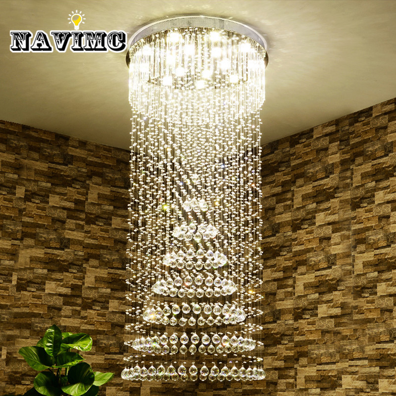 NAVIMC K9 Crystal Chandelier Lighting Villa Lobby Lounge Dining Room Living Room Lamp Double Staircase Long Crystal Ceiling Lamp
