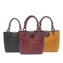 2017 Thai hand-made straw bag-style women's retro fashion rattan grass handbag beach bag
