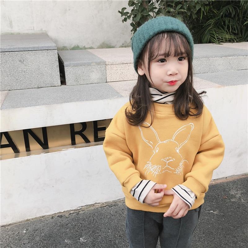 Winter Baby Mädchen Cartoon Kaninchen Fleece Gefälschte Zwei Stück Pullover Nette Kinder Baumwolle Beiläufige Hoodies Kinder Kleidung Tops