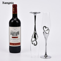 Perfect 1 Pair Silver Heart Shaped Crystal Cup Red Wine Glasses Toasting Glasses For Weddings