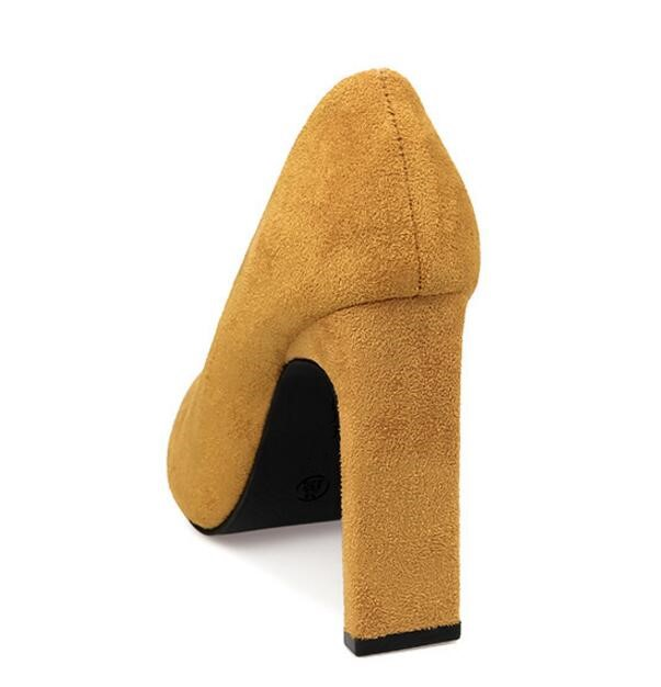 2018 Mujeres Henlu} Heels Las Del Heels Alto yellow Mujer Puntiagudo Tacones {d Pie Cuadrado Heels Tacón khaki Zapatos Para Gruesos Dedo red Heels Gamuza Black Bombas amp; De H7q66fnO4