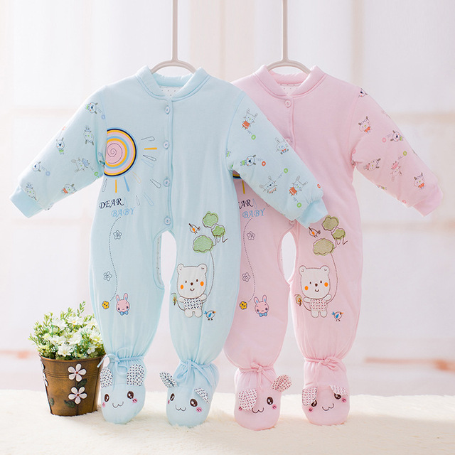 5de77190b0bc Winter Baby Rompers Clothing Baby Boys Girls Cartoon Cotton Long ...
