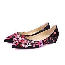Britischen stil schwarz seide Hochzeit Schuhe mit Flache Schuhe aus echtem leder glitter pionted toe Schuhe frühjahr herbst Kostenloser Versand red