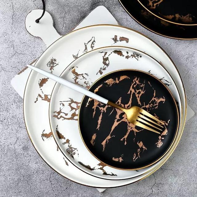 Gold Design Marble Dinner Plates