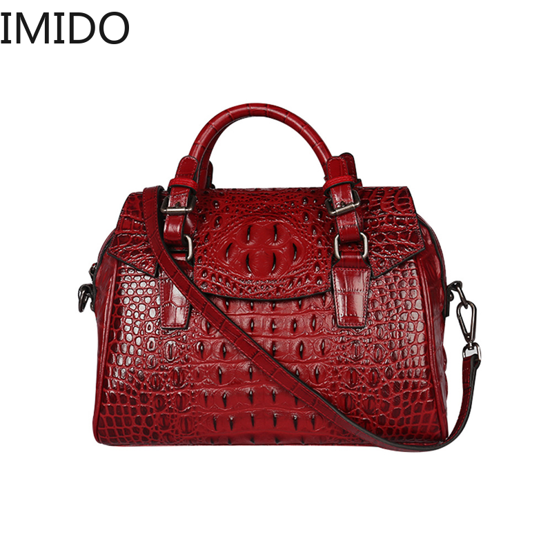 IMIDO Designer Designer Crocodile Pattern 2019 New Cowhide Slanting Across Large Capacity Leather Ladys One-shoulder HandbagIMIDO Designer Designer Crocodile Pattern 2019 New Cowhide Slanting Across Large Capacity Leather Ladys One-shoulder Handbag