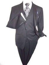 3PCS Black Men Suits Slim Fit Groom Tuxedos Wedding Formal 38 40 42 44+ Custom