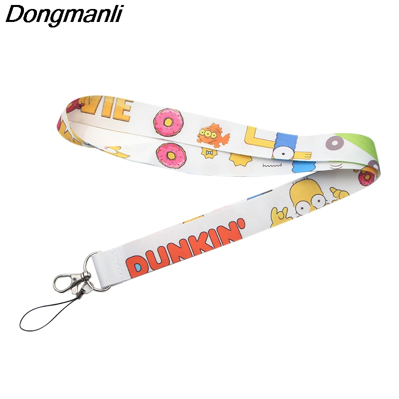 DMLSKY Simpson Keychains Lanyard Neck Key Strap For Phone Keys ID Card Cute Men Women Lanyards Phone Rope M2720