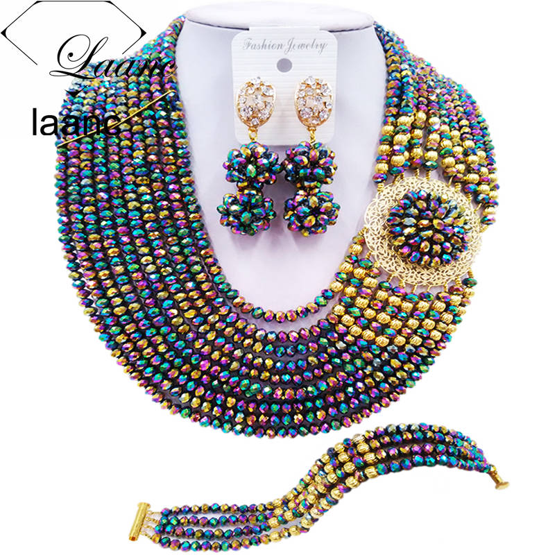 Laanc Fashion Multicolor Plated Jewelry Set for Women Nigerian Wedding African Beads Necklace Bridal Jewelry Sets DBPH027Laanc Fashion Multicolor Plated Jewelry Set for Women Nigerian Wedding African Beads Necklace Bridal Jewelry Sets DBPH027