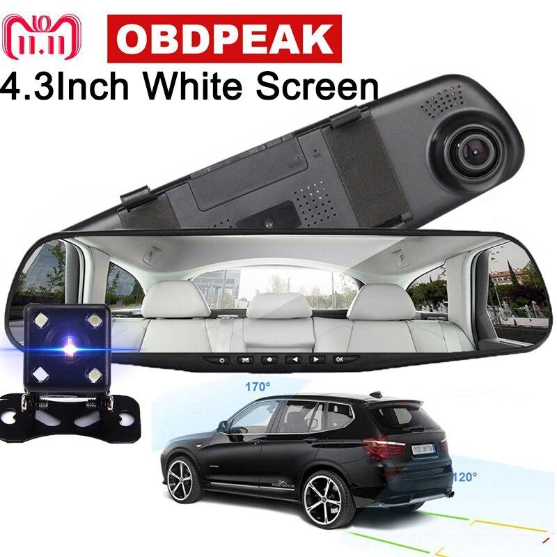 4,3 ''Auto DVR Rückspiegel mit 2 Kameras Dash Cam Weiß spiegel 1080 p Auto Video Registrator Recorder Dual objektiv Dash cam