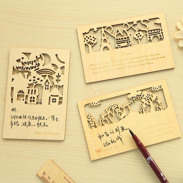 6 pcs/Lot Wood greeting card Forest animal postcard invitations gift