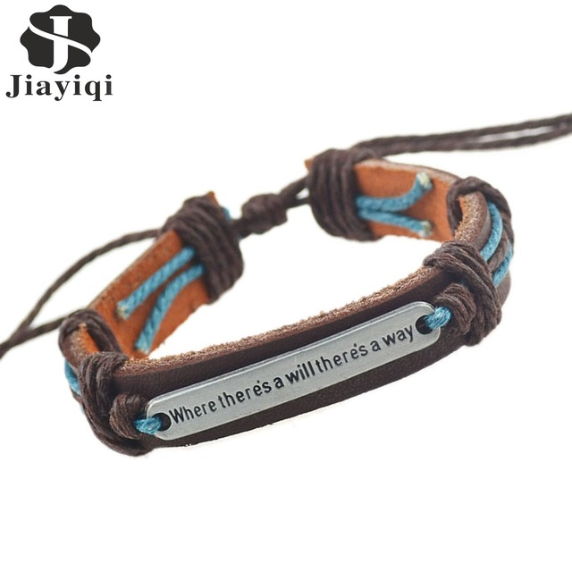 """Jiayiqi 2017 New Fashion English Word """"Where there is a will there is a way"""" Leather Bracelets & Bangles for Women Men Jewelry"""