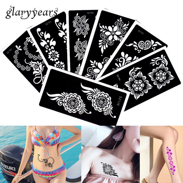 7 Pieces Medium Size Henna Tattoo Stencil Temporary for Shoulder - tattoo template