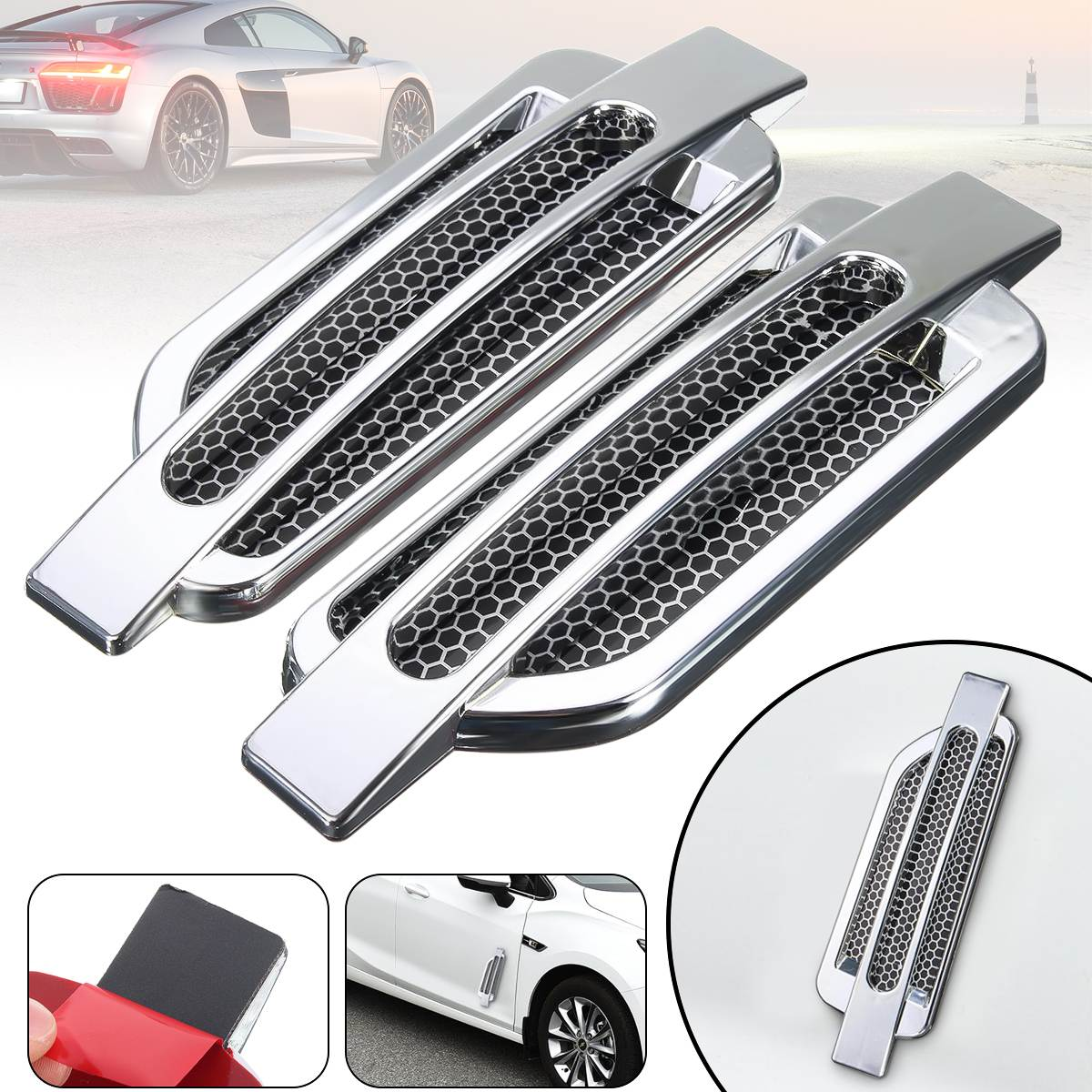 Chrome 2Pcs Car Auto Side Air Vent Intake Flow Cover Hole Grille Sticker Decoration For Honda For BMW Universal grille